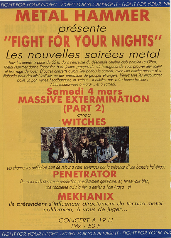 Witches flyer WITCHES + Penetrator, Mekhanix @ Paris Massive Extermination 2 Gibus Paris