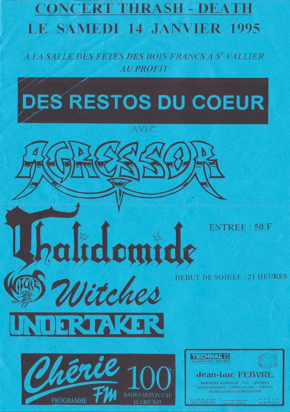 Witches flyer Camisola Real, Undertaker, WITCHES, Thalidomide & Agressor @  Salle St Juste Saint Vallier - Montceau les mines (71)