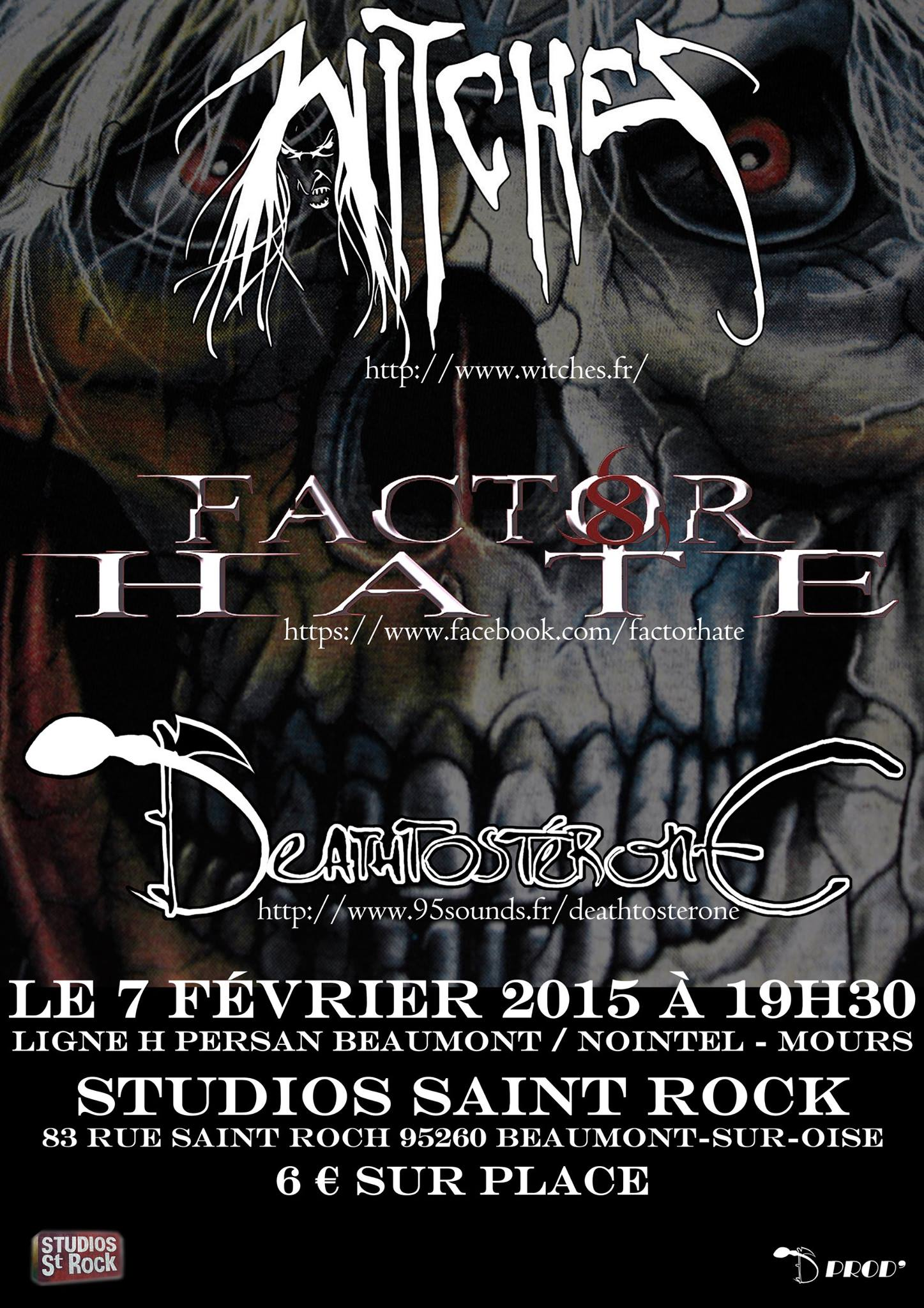 Witches flyer Witches + Deathtosterone + Factor Hate @  Studios Saint Rock Beaumont-sur-Oise(95)