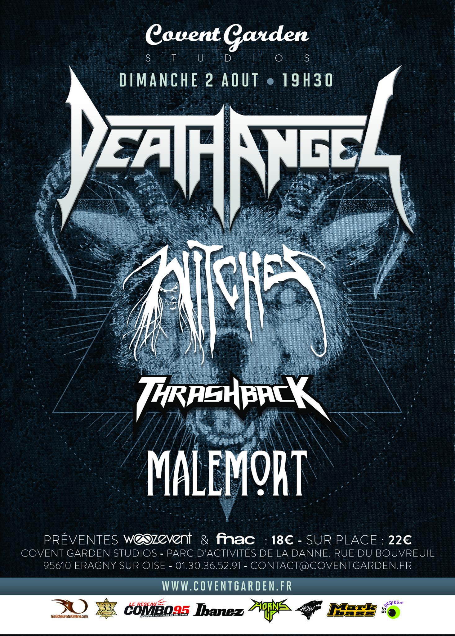 Witches flyer Death Angel + Witches + Thrashback + Malemort @  Covent Garden Eragny(95)