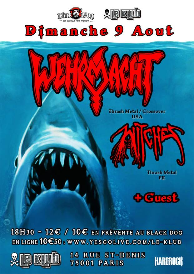 Witches flyer Wehrmacht + Witches (Annulé/Cancelled) @  Klub Paris