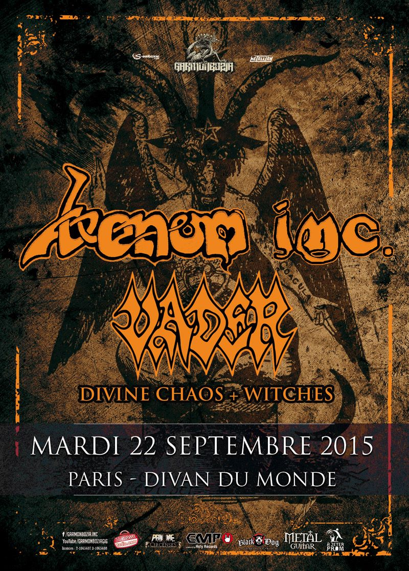 Witches flyer Venom inc + Vader + Divine Chaos + Witches @ Venom Reunion Tour Divan du Monde Paris, 75 - France