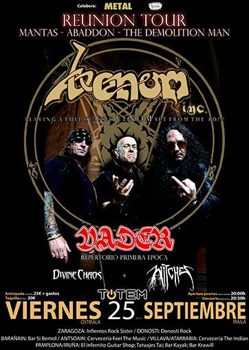 Witches flyer Venom inc + Vader + Divine Chaos + Witches @ European Tour Totem Pamplona, Spain
