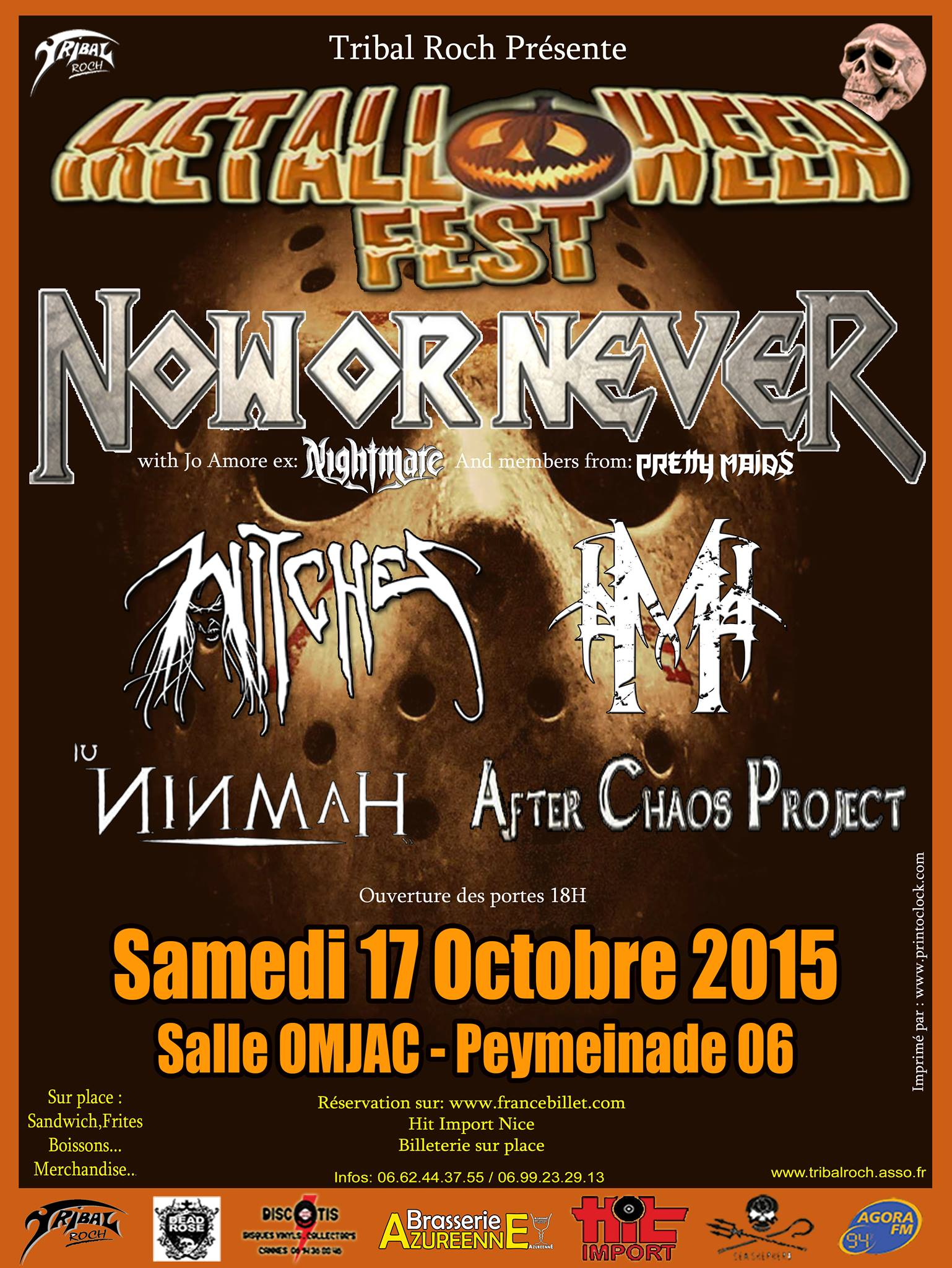 Witches flyer Now or Never + Witches + Moghan RA + Ninmah + After Chaos Project @ Witches 'Hunt Europe Tour Salle OMJAC Peymeinade (06), France