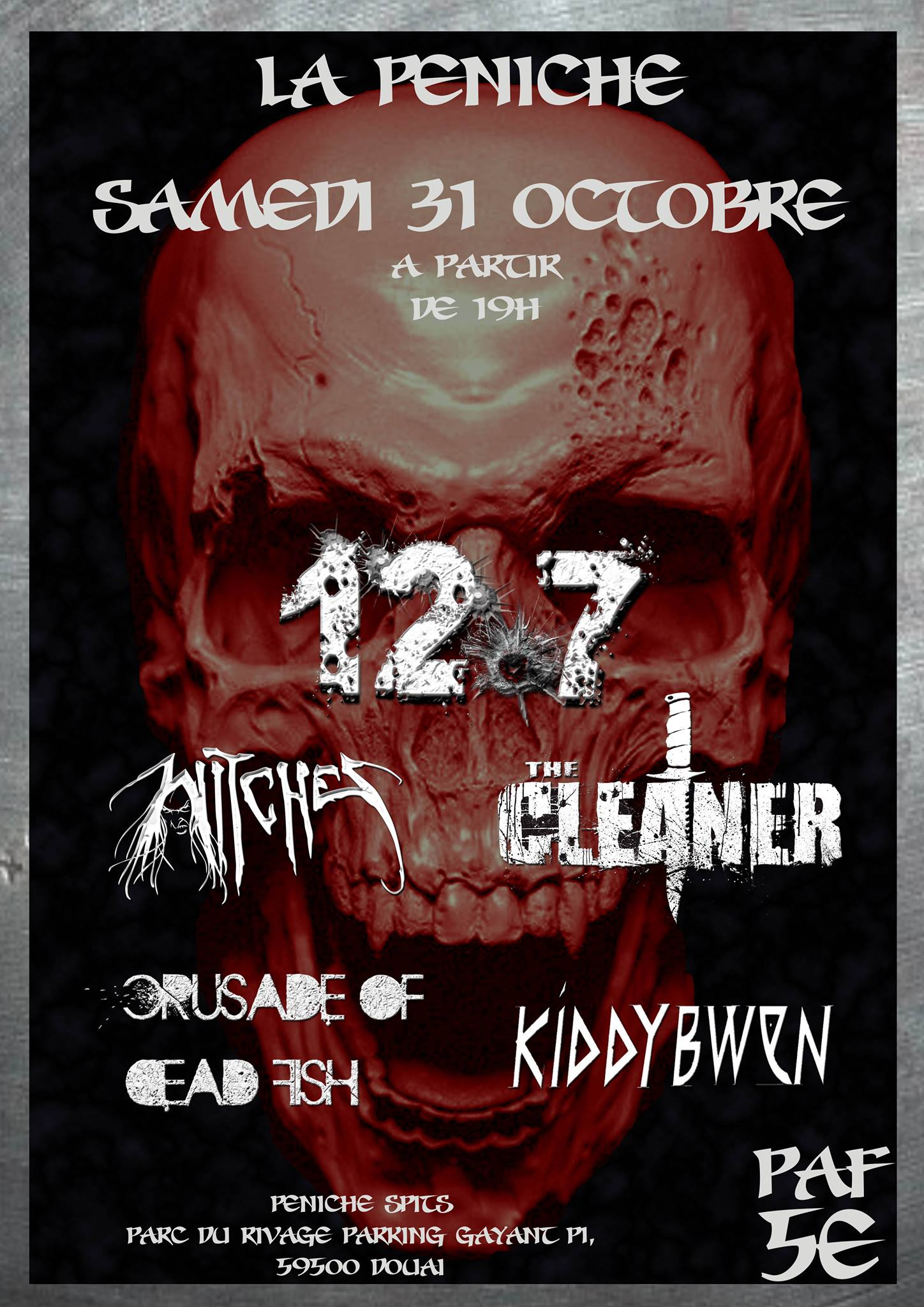 Witches flyer 12.7 + Witches + The Cleaner + Crusade of Dead Fish + Kiddybwen @ European Tour La Péniche Igelrock Douai (62), France
