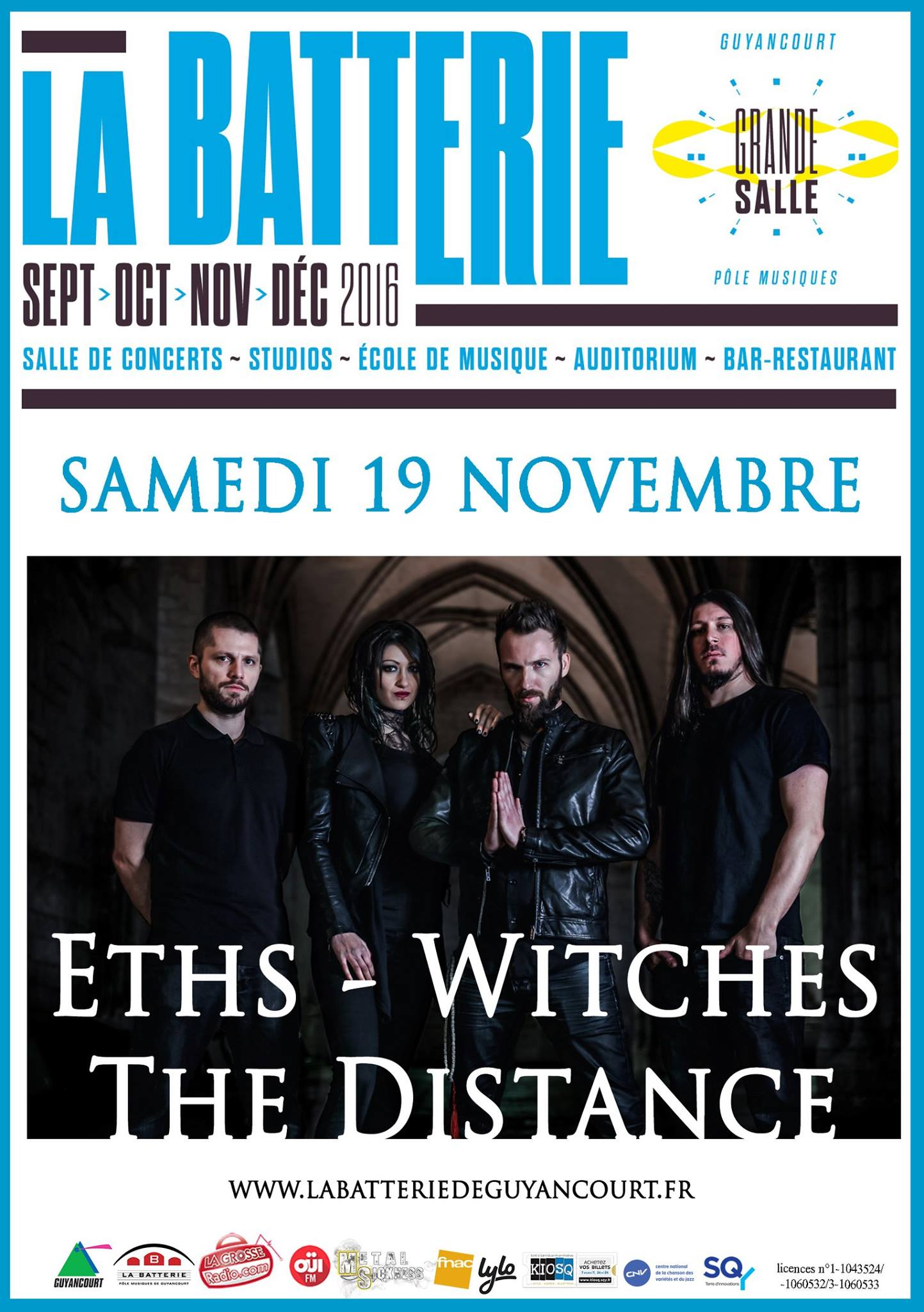 Witches flyer Eths + WITCHES + The Distance (concert reporté du 19-03-2016) @  La Batterie Guyancourt (78-France)