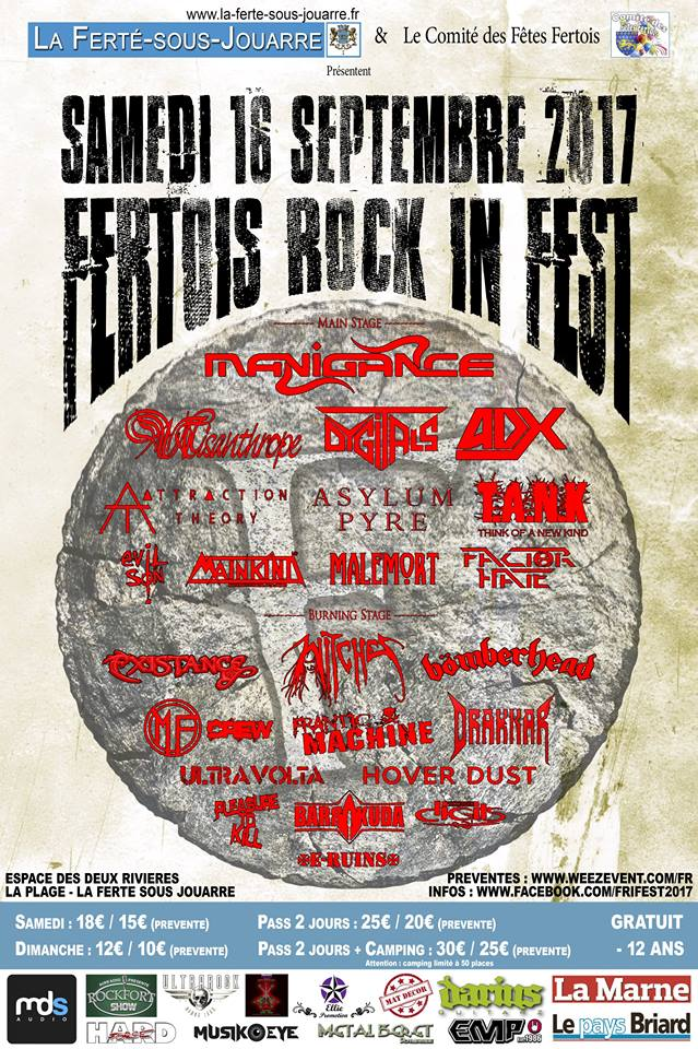 Witches flyer Misanthrope + Witches + Pleasure to Kill + ... @ Fertois Rock In Fest  La Fert� sous Jouarre