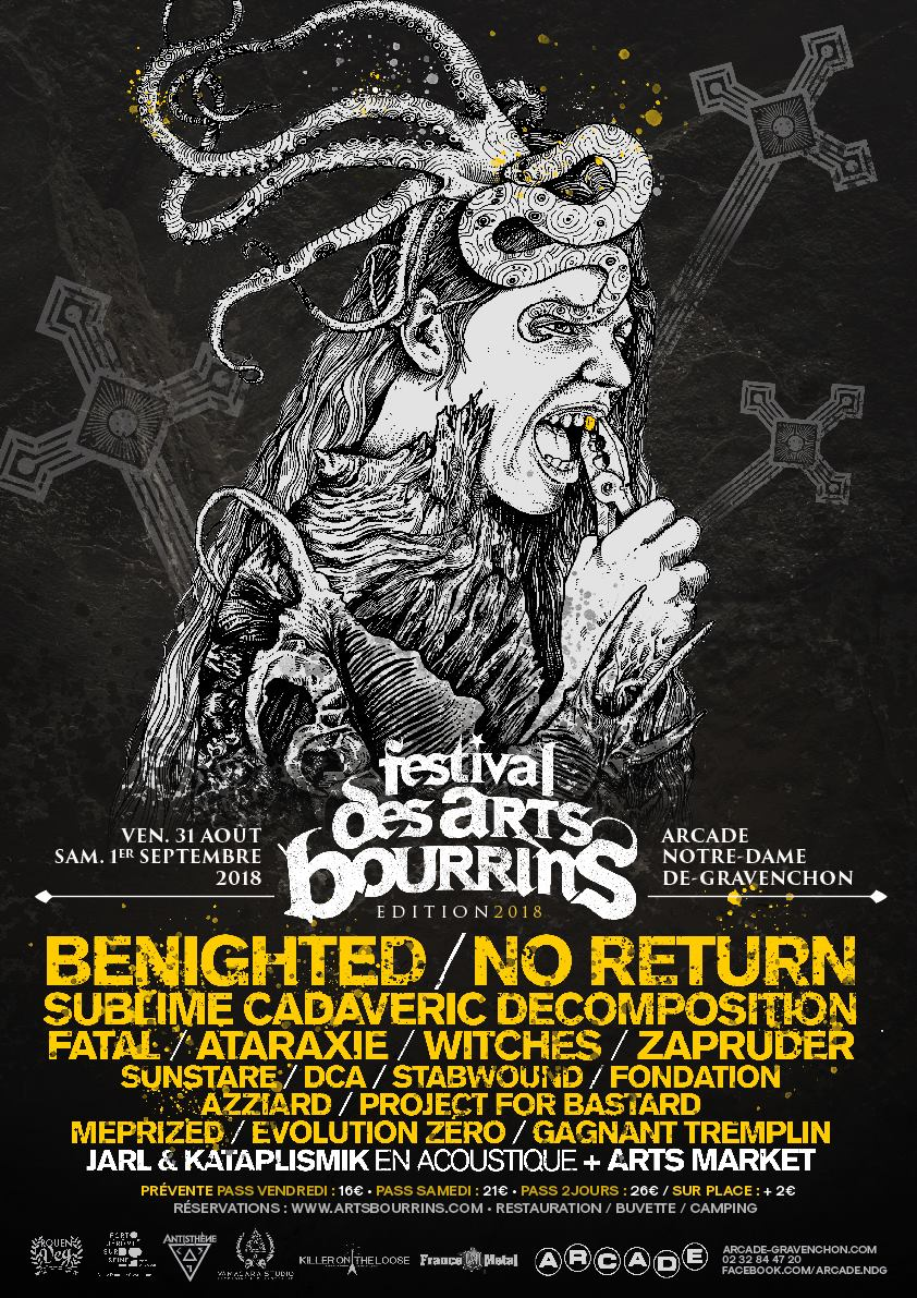 Witches flyer Benighted + No Return + Sublime Cadaveric Decomposition + WITCHES + Fatal + Ataxarie + Zapruder + SunStare +  DCA + Stabwound + Fondation Azziard + Project for bastard + Meprized + Evolution Zero +  ... @ Festival des Arts Bourrins L'Arcade Notre Dame de Gravenchon (76)