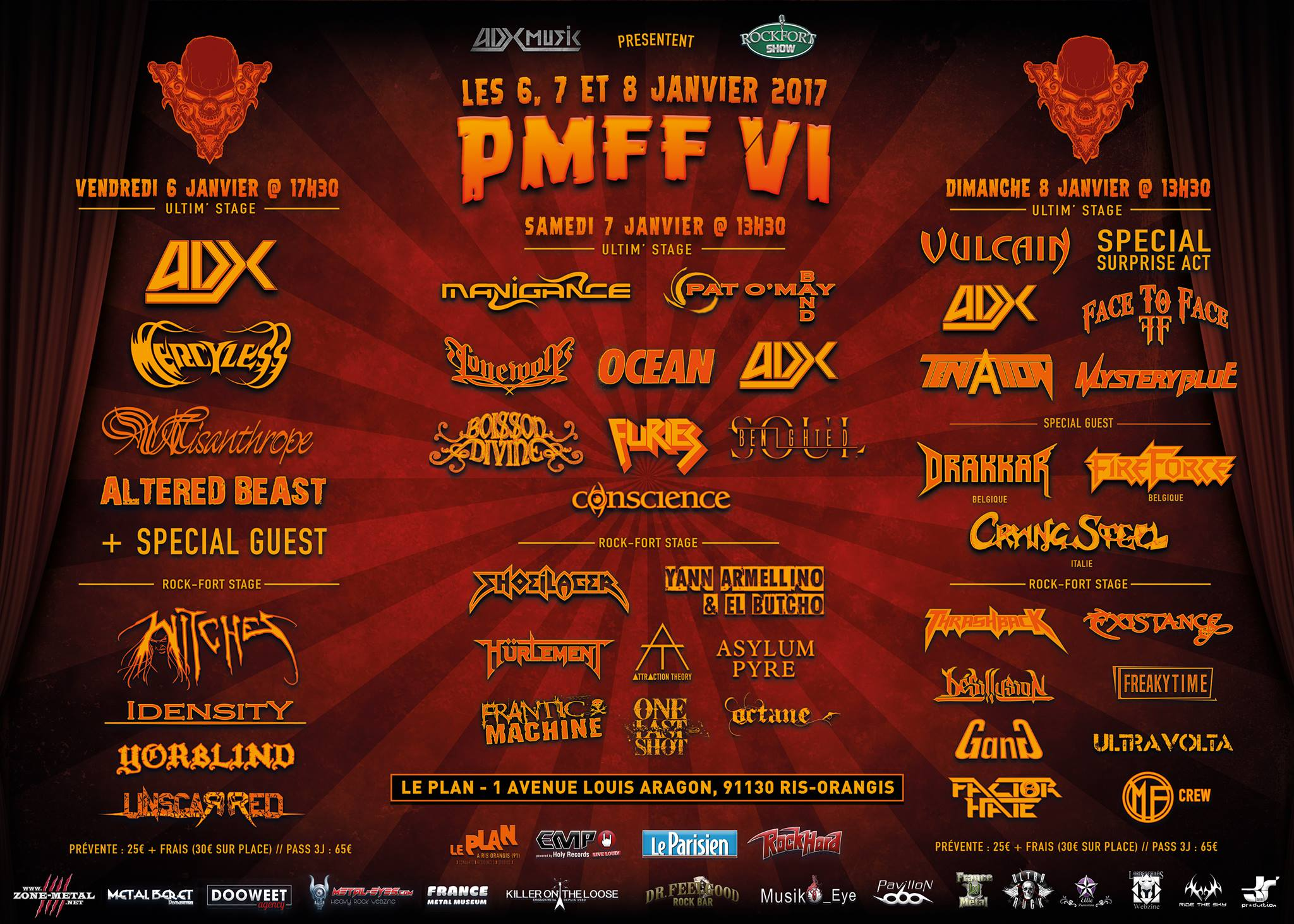 Witches flyer Mercyless, Witches, ADX, Misanthrope, Altered Beast, Yorblind, Idensity​, Unscarred @ Paris Metal France Festival - PMFF #6 Le Plan Ris Orangis (91)