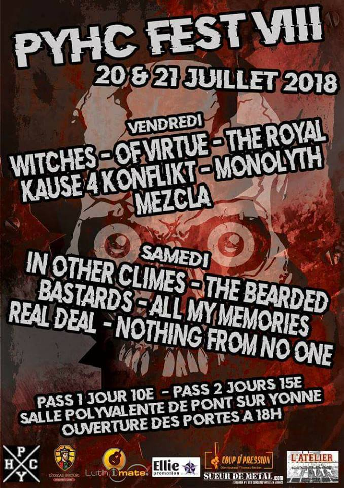 Witches flyer Witches + Of Virtue + The Royal+ Kause 4 Konflikt + Monolyth + Mezcla @ PYHC Fest 2018  Pont sur Yonne (89)
